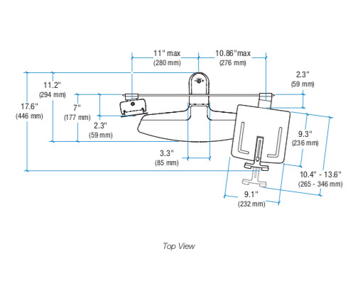 Ergotron Neo-Flex LCD & Laptop Lift Stands - Dimensions