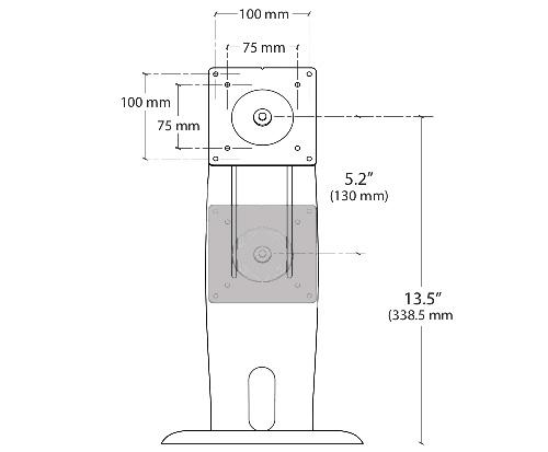 Ergotron Neo Flex LCD Stand Dimensions