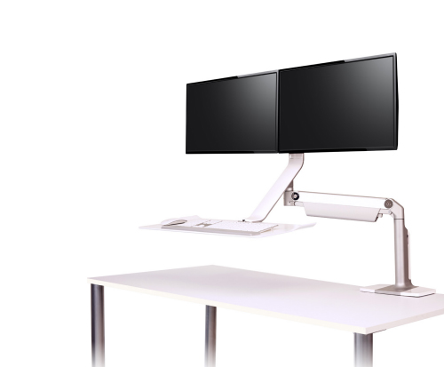 QuickStand Lite Dual Screen Sit to Stand Desk in White
