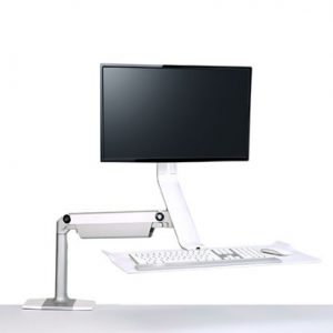 QuickStand Lite Single Screen Sit to Stand Desk Side View