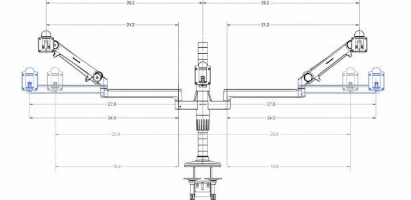 Humanscale M/Flex Multi-Monitor Arm System Dimensions