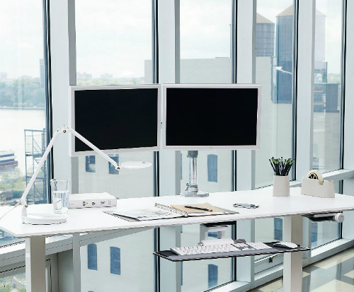 Humanscale M/Flex Multi-Monitor Arm System Two Monitor Office