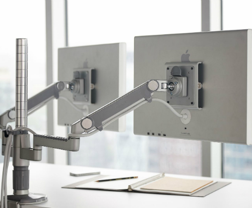 Humanscale M/Flex Multi-Monitor Arm System Office Two Monitor Back