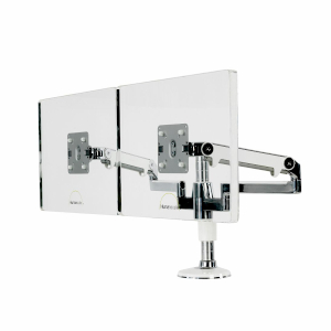 Humanscale M/Flex Multi-Monitor Arms, Side View, Silver Arms, Two Monitor