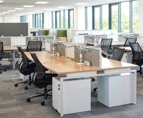 Humanscale M/Flex Multi-Monitor Arm System Mass Office Installation 2