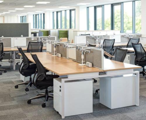 Humanscale M/Flex Multi-Monitor Arm System Mass Office Installation 2