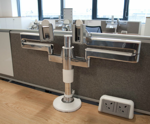 Humanscale M/Flex Multi-Monitor Arm System Office Closeup