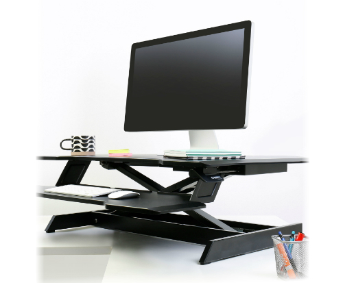 Ergotron WorkFit™ Corner Standing Desk Converter Angled